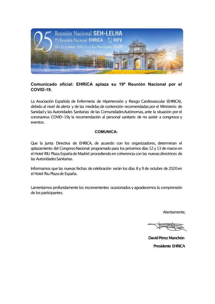 Comunicado oficial EHRICA